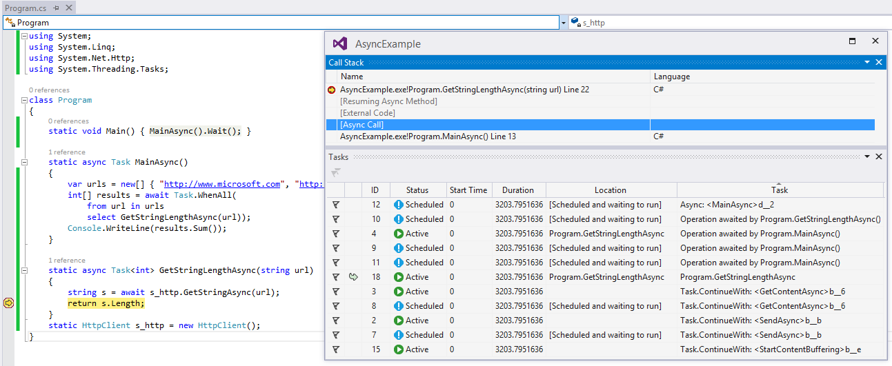 Visual Studio 2013 Async Debugging
