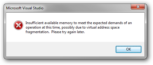 Insufficient memory error in Visual Studio 2010