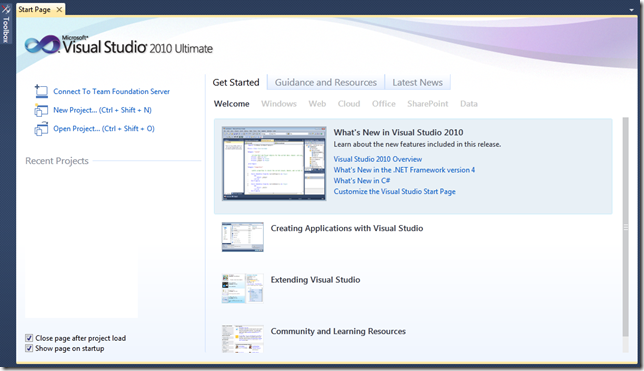 Customize start page Visual Studio 2010