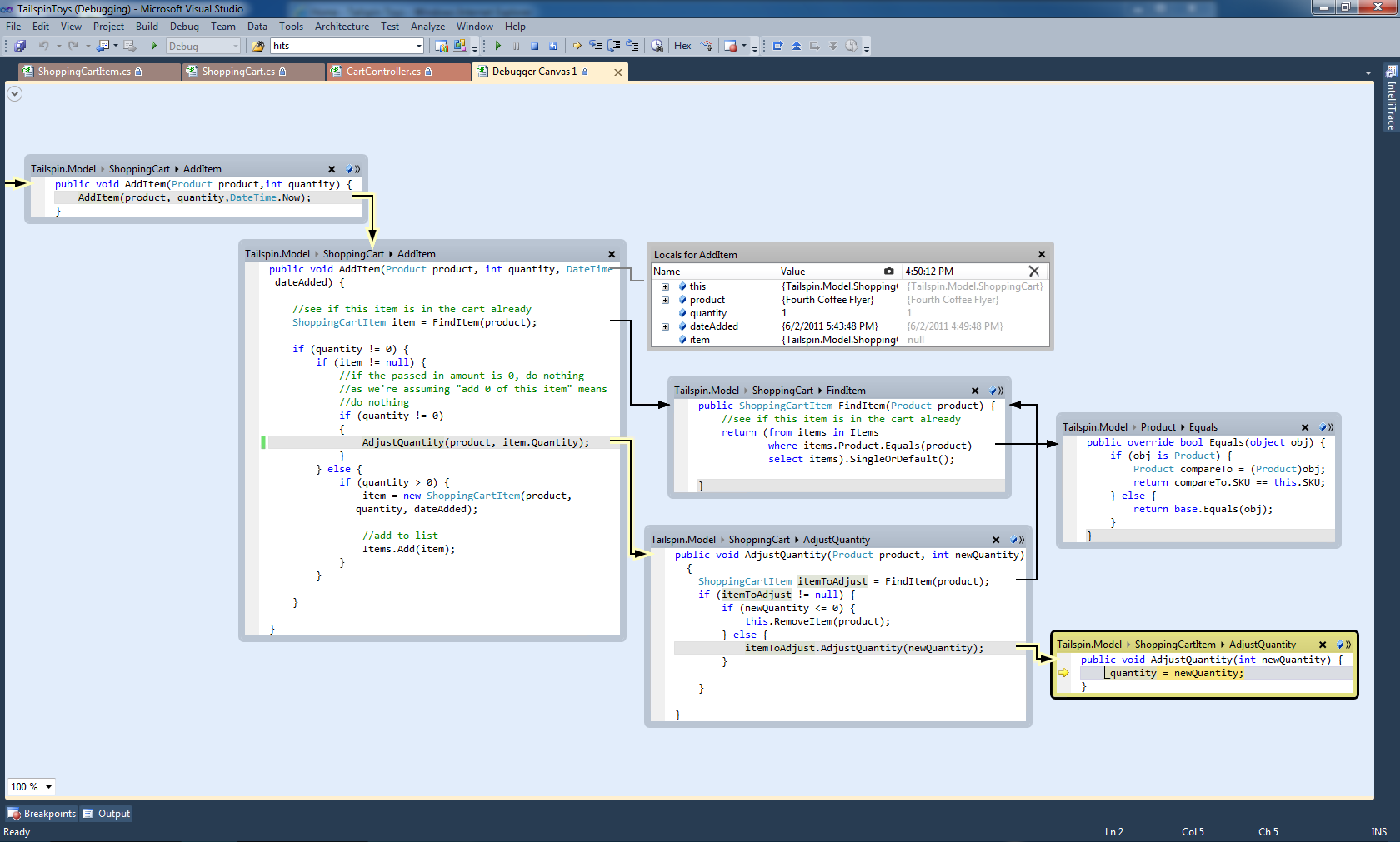 Debugger canvas feature from Visual Studio 2010